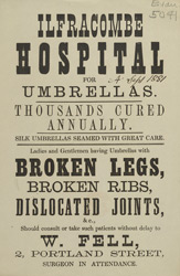 Advert for the Ilfracombe Hospital for Umbrellas